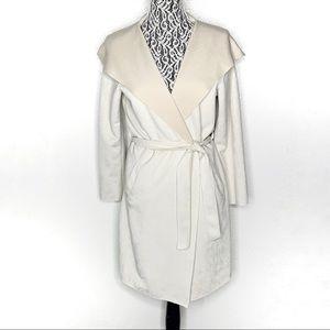 Zara light cream hooded wrap coat faux suede XS